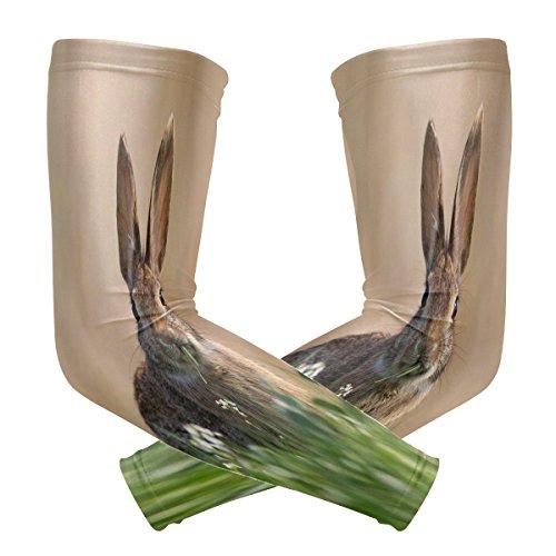 ZZKKO Ärmel-Schutzhülle, Kaninchenblumen-Design, UV-Schutz, Sonnenschutz, für Herren, Damen, Laufen, Golf, Radfahren, Armwärmer, 1 Paar