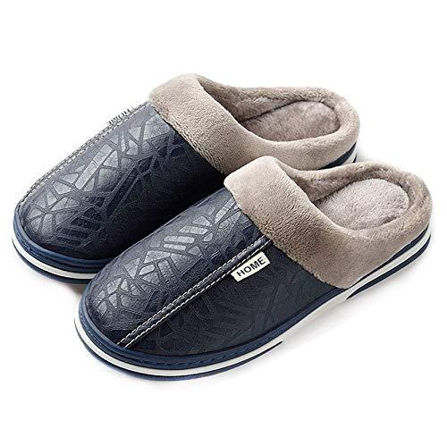 CELANDA Zapatillas de Estar por casa para Mujer Impermeables de PU Pantuflas Térmicos de Invierno Suave Algodón Casa Zapatos Cómodo Y Antideslizante (A Azul 42/43 EU=Talla fabricante:43/44)