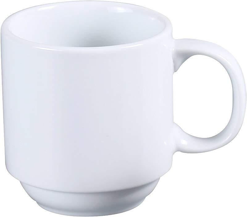 Yanco AC 12 P ABCO Prime Stackable Coffee Tea Mug 12 Oz Porcelain Super White Pack Of 36
