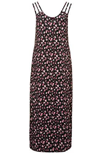 Ulla Popken Damen große Größen Nachthemd, Rosenmuster, dreigeteilte Träger schwarz 42/44 723970 10-42+