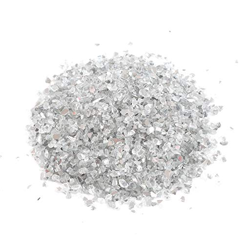 Alan Stone High Luster ReflectiveFire Glass Gravel,Fire Drops,Fire Glass Pebbles Stones Beads for Fire Pit,3-6mm,435g/15.34oz (Both Side Mirror)