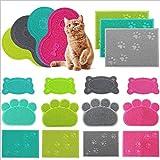 Haustier Hunde/Katze Napfunterlage Napfuntersetzer Futterunterlage Futtermatte wie Wolken LianLe (blau, Pfotenform)