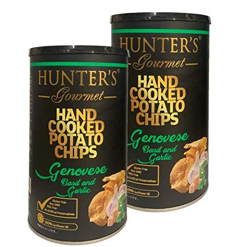 ハンター ポテトチップス ジェノベーゼ バジル&ガーリック 150g 缶 2個