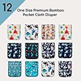 A Set of 12 KaWaii Baby Bamboo Cloth Diapers with 12 Bamboo Inserts