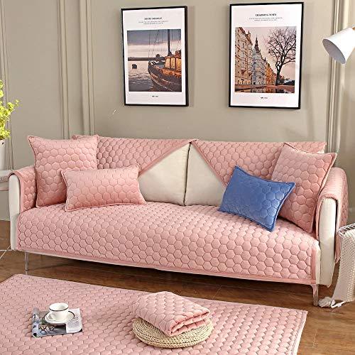 Corner Sofa Slipcover,Living Room Fabric Sofa Seat Covers,Furniture Protector Cover,for 1/2/3/4/5 Seater Sofa,Funda de sofá Gruesa con patrón de Panal-Rosado_110×240cm
