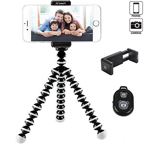 3Csmart Camera Tripod, Octopus Camera Holder and Phone Tripod for iphone/Universal Smartphone/Cell phone/Camera Arbitrary installed With Remote Control