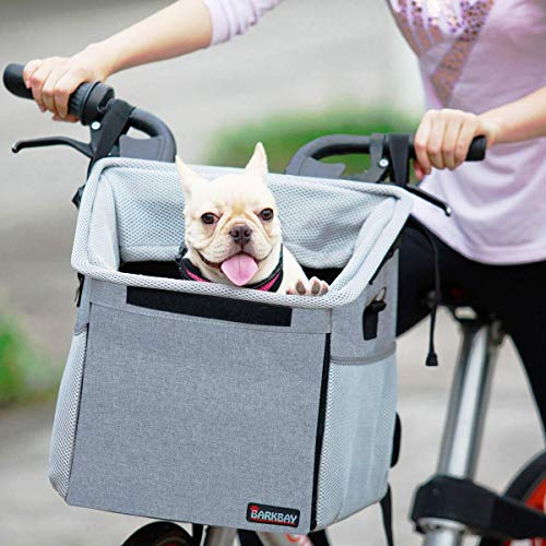Pet Carrier Bicycle Basket Bag Pet Carrier/Booster Backpack for Dogs and Cats with Big Side Pockets,Comfy & Padded Shoulder Strap,Travel with Your Pet Safety(Grey)