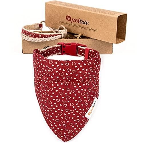 Pettsie Hundehalsband mit Bandana Tuch und Freundschaftsarmband, einstellbare Größen S und M, haustierfreundlicher Hanf, stark und langlebig, tolles Geschenk für Hundeliebhaber in Geschenkbox (M, Rot)