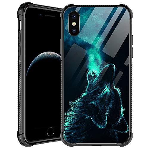 iPhone XR Case,Lonely Wolf iPhone XR Cases for Men Boys,Shockproof Anti-Scratch Soft TPU Pattern Design Case for Apple iPhone XR 6.1-inch Lonely Wolf