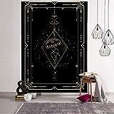 QAWD Dorado Negro Sol Luna Tarot Card Mandala Tapiz Colgante de Pared Brujería Hippie Tapiz Escena psicodélica Tapiz A13 100x150cm