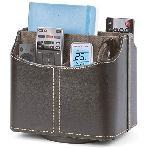 """Office Supply Organizer Holder and Desk Organizer for Remote Controllers, Supplies, Desktop Caddy or Remote Control Holder 5 Compartments, Brown Faux Leather 8""""Wx6""""Dx7½""""H"""
