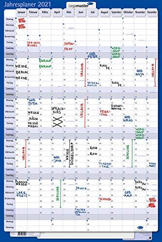 Legamaster 7-421221 -21 Kartonjahresplaner 2021, Kalender im Hochformat, 1 Stück, inklusive Zubehörset, 90 x 60 cm