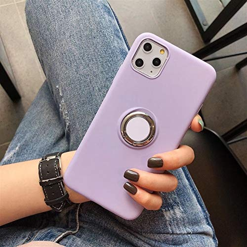 Travel Siliconen Phone Case for iPhone 11 Pro Max X XS XR Condom Shockproof Cover Total beschermhoes met Ondersteuning (Color : Purple, Material : For iPhone 11 pro)