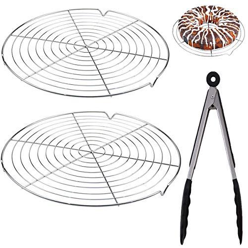 Osuter Rejilla de Enfriamiento,2pcs Rejilla de Acero Inoxidable Parrilla Accesorios Ronda Cooling Rack Pinzas de Cocina para Hornear Pastel Grid