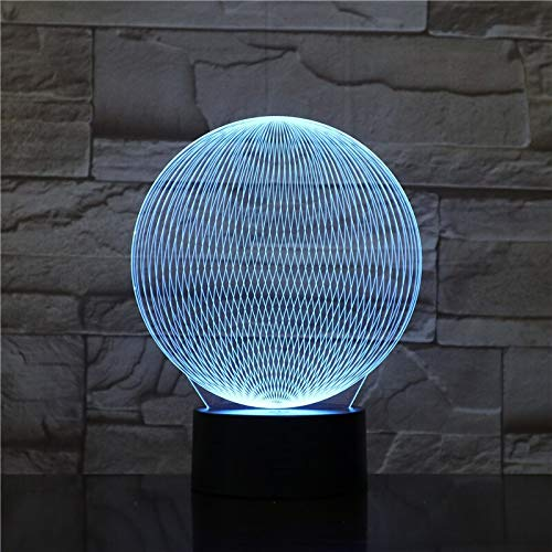 Only 1 Piece Colorful 3D Desk Lamp LED Visual Abstract Round Modeling Atmosphere Decor HolidayTouch Switch 7 Color Night Light