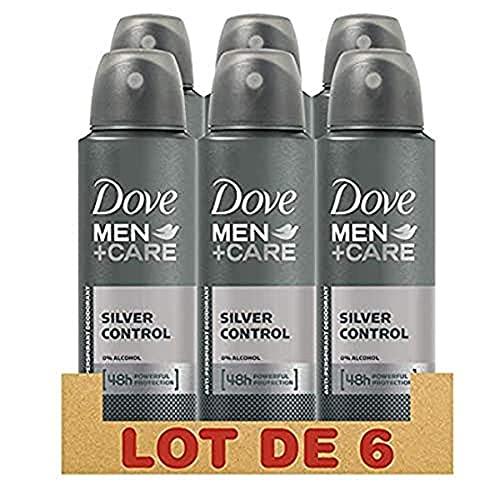 Dove Men + Care - Deodorante da uomo, protezione 48h Silver Control, senza alcol (confezione da 6 x 150 ml)