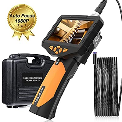 Teslong Inspection Camera, Auto Focus 4.5inch Screen Endoscope with Toughened Glass, 9.84ft Waterproof Semi-Rigid Tube Borescope Industrial Endoscope, 2600mAh Rechargeable Battery (32GB TF Card)