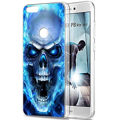 Pnakqil Huawei P8 Lite 2017 Cover Trasparente, Premium Custodia Silicone con Disegni Leggero Ultra Sottile TPU Morbido Antiurto 3d Pattern Bumper Case per Huawei P8 Lite 2017, Teschio Blu