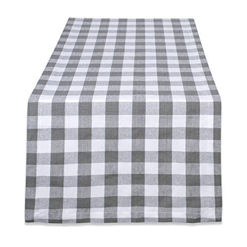 DII Checkered Collection Tabletop, Table Runner, 14x72, Gray