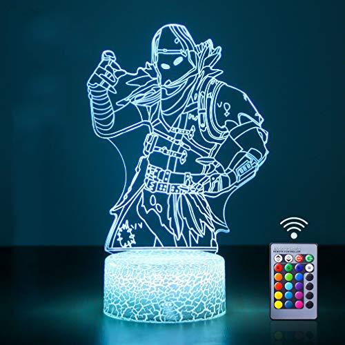 3D LED Luz de noche, 3D Lámpara de ilusión Con mando a distancia LED Touch lámpara de escritorio de mesa con 16 colores Lámpara de decoración regalos para dormitorio de niños