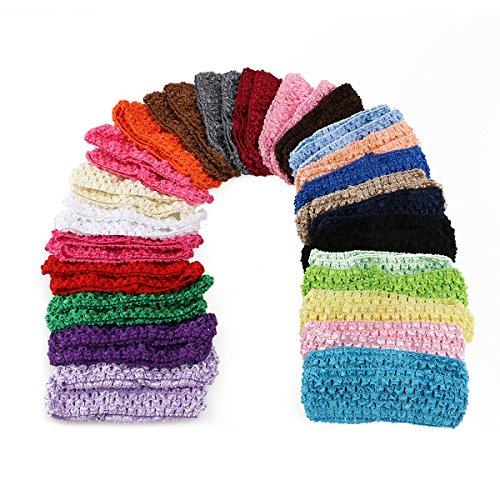 Tinksky bébé filles bandeaux Crochet élastique Bandeaux élastiques cheveux Head Porter en 25 couleurs différentes Lot de 50