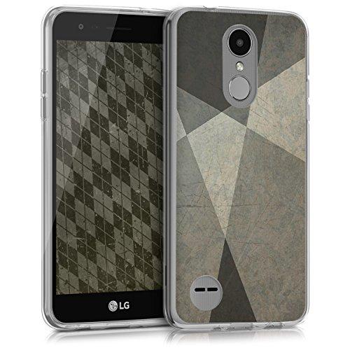 kwmobile Cover Compatibile con LG K4 Dual (2017) - Custodia Morbida in Silicone TPU - Back Case Protezione Posteriore Cellulare Geometrico Menta/Grigio/Nero