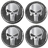 SkinoEu® 4 x 70mm Aufkleber 3D Gel Silikon Autoaufkleber Punisher Totenkopf Totenschädel Skull...