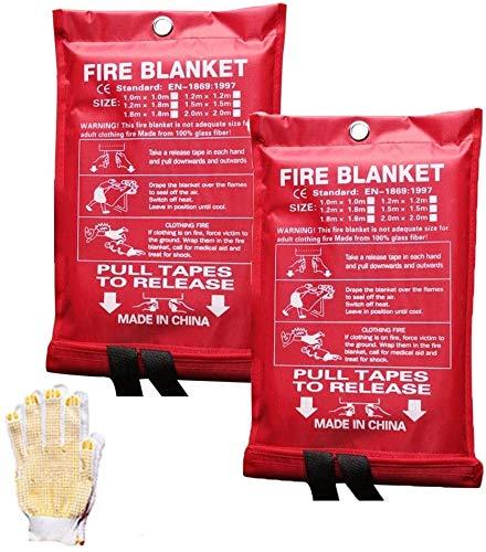 """WSSCKT 2 Paquete Manta de Incendios 40\""""x40 con Guantes, supresión de Incendios Manta de Emergencia for Cocina, Camping, asado a la Parrilla"""