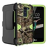 Untouchble Case for LG K8 Case| LG Escape 3 Case | LG Phoenix 2 Case [Mystic Defense] Sleek Rubberized Dual Layer Green Case Rugged Protector [Swivel Belt Clip] [Kickstand] - Forest Hunting Camo