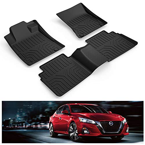 KIWI MASTER Floor Mats Compatible for 2019-2021 Nissan Altima Accessories All Weather Mat Front & Rear 2 Row Seat TPE Slush Liners Set Black