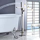 Gnailur Bañera de baño montada en el suelo fregadero grifo manija individual con ducha de mano mezclador de bañera grifo Freestanding Clawfoot Bath Shower Set