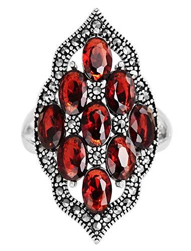 CHXISHOP Anillo de plata de ley 925 para mujer, anillo de dedo índice personalizado de plata de ley con apertura de granate, anillo ajustable, joyería de plata, rojo, talla única
