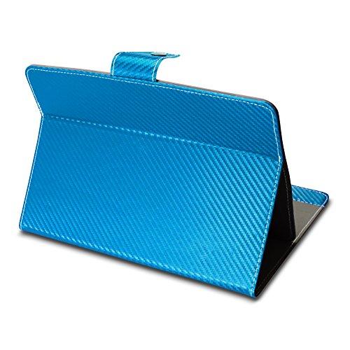 Acer Iconia Tab 10 A3-A50 Universal Tablet Tasche mit Ständerfunktion Hülle für Tablet Schutztasche in edler Carbon-Optik Schutzhülle Stand Tasche Etui Cover Hülle hochwertige Optik von NAmobile, Farben:Türkis