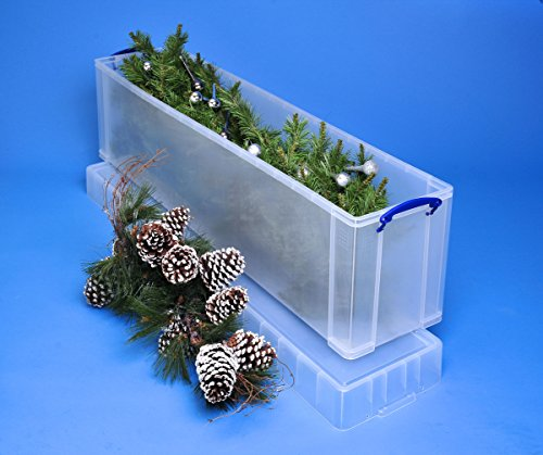 image of the Really Useful Storage Box 77 Litre Clear Christmas Tree Box with a breakdown of features and benefits