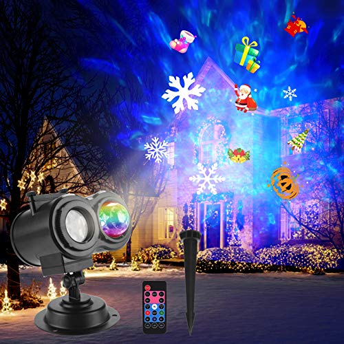 ROVLAK LED Proiettore Lampada IP65 Impermeabile Proiettore Luce con Telecomando 3D Rotazione Onde D'acqua Lampada di Proiezione Esterno Luci da Giardino Proiezione per Natale Festa Halloween