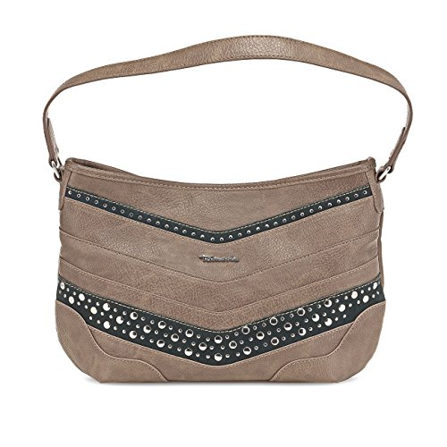 Tamaris TONI Handtasche, Hobo Bag, Nietenbesatz, 3 Farben: schwarz, mocca braun oder cigar, Farbe:cigar braun
