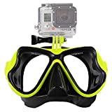 LYYAN Professional Diving Mask Adult Swimming Goggles Diving Goggles Snorkeling Mask Free Breathing Anti Fog Anti Leak with Detachable Camera Mount (Color : Yellow)