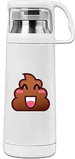 Karen Garden Happy Poop Emoji Stainless Steel Vacuum Insulated Water Bottle Leak Proof Handled Mug White,12oz