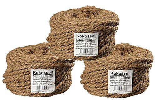 Humusziegel - Kokosseil Ersatz für Kratzbaum - Ersatzteil - 7 mm, 3 x 50 m - ungefärbte Naturfaser – Verwendbar als Sisal Seil, Baumanbinder, Paketschnur, Pflanzenband & als Deko