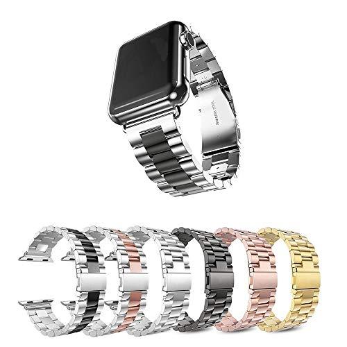 Pulseira Metal 3 Elos para Apple Watch 44mm e 42mm - Marca Ltimports (Prata com Preto)