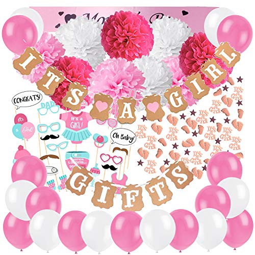 ZERODECO Baby Shower Decorations for Girls with It's a Girls and Gifts Banners Pink Sash Paper Pom Poms Balloons Cute Photo Booth Props Baby Shower Confetti