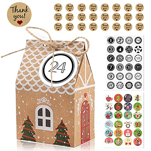 GGW Paquete De 24 Cajas De Regalo De Adviento, Casa De Navidad, Calendario De Adviento, con Pegatinas De Números Navideños, Cordón De Yute, Bolsa De Regalo De Papel Kraft Navideño