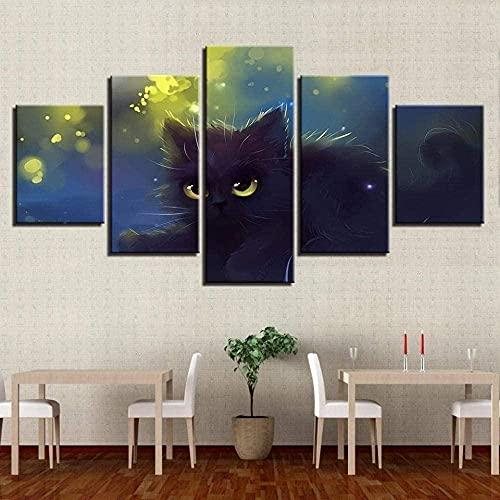 WNQMY Impresiones En Lienzo 5 Paneles De Parte Arte De Pared Impresión Lienzo Pintura Lindos Ojos Gato Negro Animal Decoración De Pared Póster De Habitación Lienzo