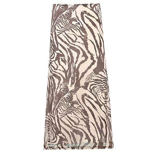 DHDHWL spódnica Paisley Drukuj Długie Spódnice Brązowe Spódnice Satin Eleganckie Letnie Spódnice Kobiety Streetwear Trendy Spódnice Vintage minispódniczka (Color : A, Size : M)