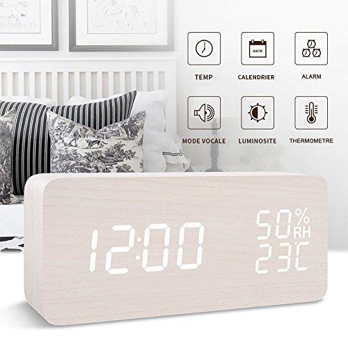 FONCBIEN Sveglia da Comodino Legno Digitale Con Calendario/Temperatura/umidità, due modalità alimentations USB e Batterie 12H/24h Sveglia Elettronica Rettangolo bianco
