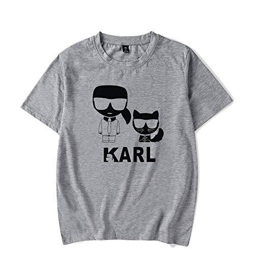 T-Shirt Mode Karl Lagerfeld Drucken Kurze Ärmel T-Stück Beiläufig Lose Trikot Unisex/grau/S