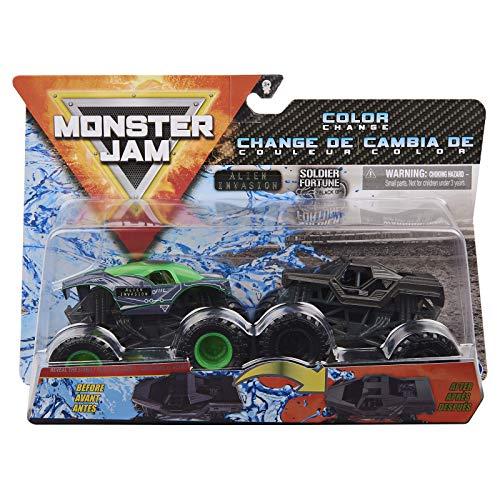 Monster Jam 2020 Cambio de color, escala 1:64, paquete de 2, invasión alienígena vs. soldado fortuna negra.