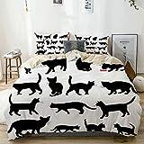 Juego de funda nórdica beige, siluetas de gato negro en diferentes poses,...