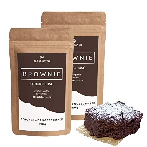 PROTEIN-BROWNIE-MIX - Glutenfrei | Mehr Eiweiß | Lower-Carb | Weniger Zucker & Kcal - CLOUD SEVEN (2x 200 g)