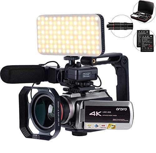 Videocámara 4K con zoom digital 64X, conexión con telescopio/luz LED/micrófono y otros...